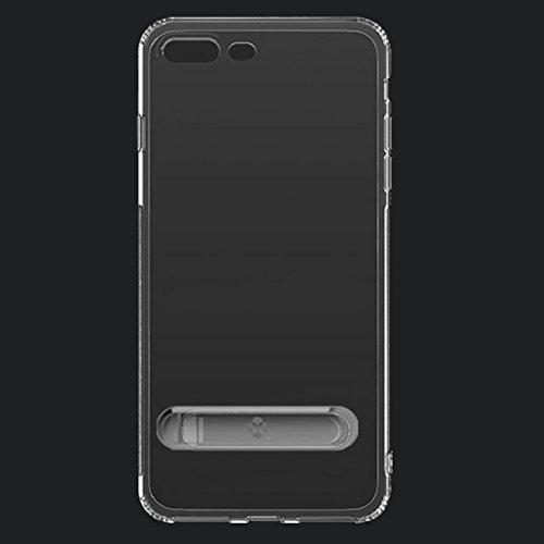 Für iPhone 5.5 Zoll Fall, Für iPhone 8 Plus & 7 Plus TPU + PC Dropproof Transparente Schutzhülle Rückseitige Abdeckung mit Galvanik Magnetischer Halter (5,5 Zoll) ( Color : Silver )
