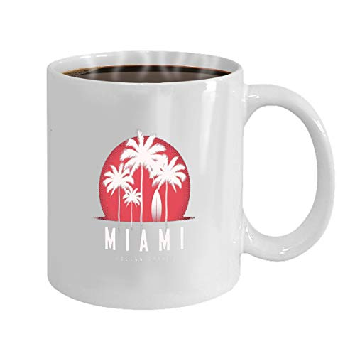 Funny Gifts for Halloween Party Gift Coffee Mug Tea miami ocean drive print palm trees design typ typog