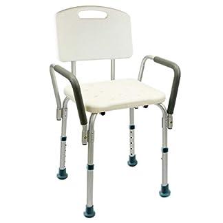Silla de Ducha/Baño Ortopédico con Respaldo, Ajustable en Altura, Conteras Antideslizantes para Personas Mayores