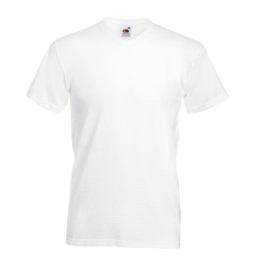 V-ausschnitt Baseball Tee (Valueweight V-Neck T-Shirt von Fruit of the Loom S M L XL XXL verschiedene Farben L,Weiß L,Wei?)