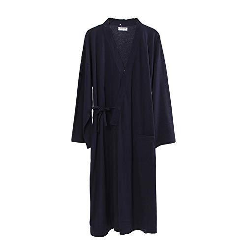 Navy Baumwolle Pyjama (Männer im Japanischen Stil Roben Reiner Baumwolle Kimono Pyjamas Bademantel Bademäntel-Navy/Größe L)