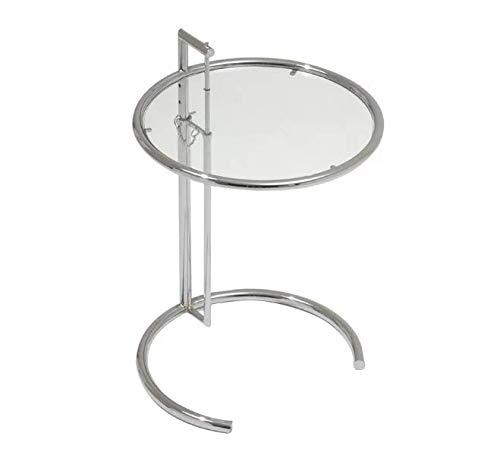 Orren Ellis Klassischer Beistelltisch, Metallrahmen, C-Form, Tischplatte aus gehärtetem Glas, verstellbares Design, silberfarben