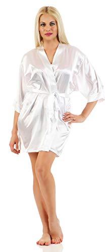 Damen Morgenmantel kurzer Kimono aus Satin-Optik in 17 Farben Bademantel Nachtwäsche Nachtmantel Seidenrobe Gr. S-XL Weiß S