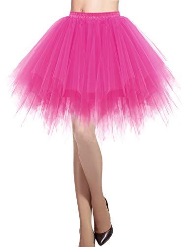 Dresstells Damen Tüllrock 50er Rockabilly Petticoat Tutu Unterrock Kurz Ballett Tanzkleid Ballkleid Abendkleid Gelegenheit Zubehör Fuschia L