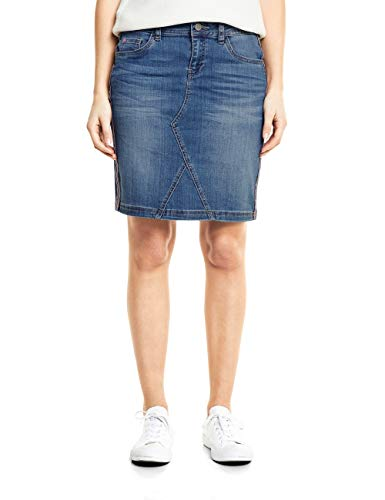 Street One Damen 360358 Rock, mid Blue Authentic Washed, Herstellergröße:44 - Damen Crinkle-röcke-a-linie Rock