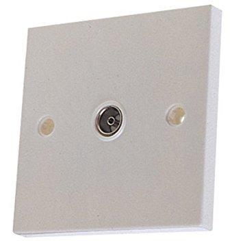 Single TV Aerial Coax Wall Plate 1 Gang Flush Socket by Dencon Standard White -
