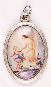 Ciondolo a medaglione, 2,54 cm, con icona angelo custode smaltata, in metallo color argento - Angelo Icona