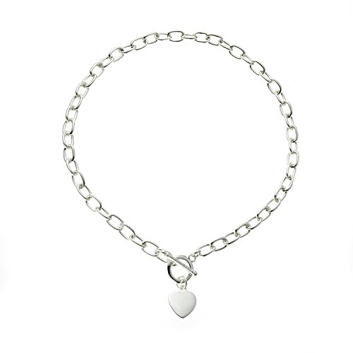Versilberte Halskette mit Herz Knebelverschluss, 40.64 cm (Tiffany Halskette T)