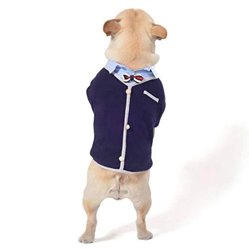 PZSSXDZW Haustierhundekleidung Herbst und Winter Fake Zwei Hemden Haustierkleidung Cosplay - Party,Blue,XL