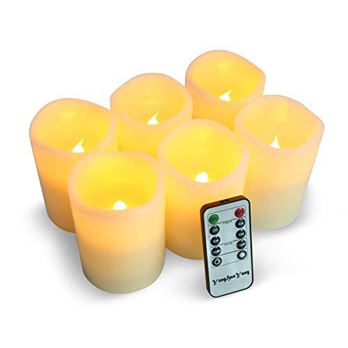 LED Kerzen,Flammenlose Kerzen 200 Stunden Dekorations-Kerzen-Säulen im 6er Set (3\'\'*4\'\'). Realistisch flackernde LED-Flammen 10-Tasten Fernbedienung mit 24 Stunden Timer-Funktion (6 * 1, Ivory)