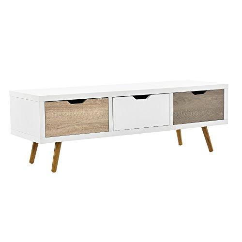 [en.casa] Design TV Lowboard Berlin/Sideboard / Kommode mit Schublade (120x39x39cm)