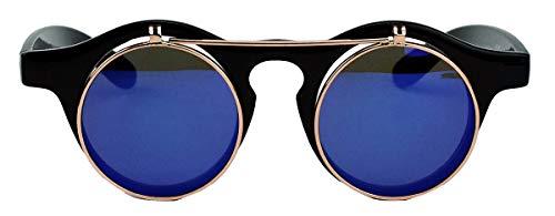 50er 60er Jahre Retro Sonnenbrille klappbare Gläser rund Vintage Steampunk Flip up FARBWAHL FL97 (Blau verspiegelt)