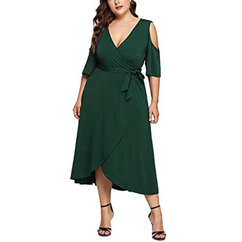 VEMOW Plus Size Elegante Damen Frauen Casual Kurzarm Kalt Schulter Boho Blumendruck Casual Täglichen Party Strand Langes Kleid Schulterfrei Strandkleid(X4-Grün, EU-46/CN-XL)