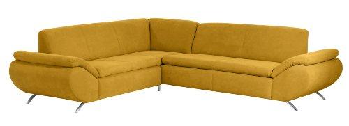 Max Winzer 2870705205176 Polsterecke Madita 2.5-Sitzer mit Ecksofa links, samtiges Flachgewebe, gelb