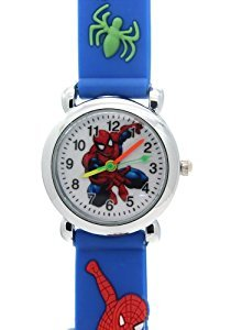 TimerMall Spider Man Cartoon White Circle Dial Waterproof Blue Rubber Strap Kids Quartz Watches