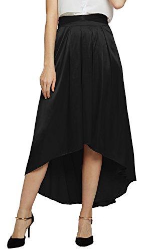 Damen Elegante Satin Bowknot Hi-Lo lange Rock Satin Faltenrock (S, schwarz) (H Und M Fancy Dress)