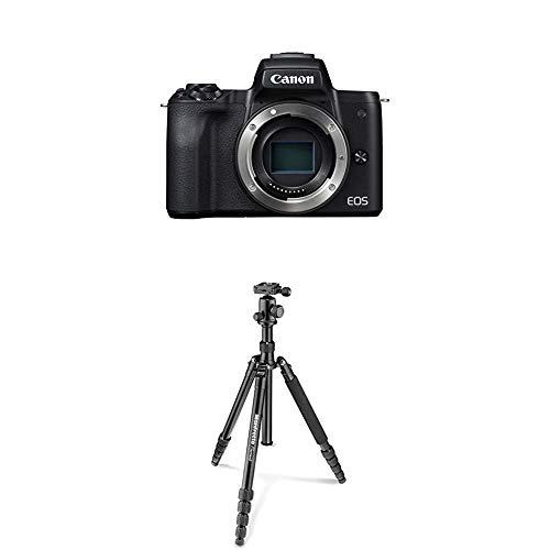 Canon EOS M50 Gehäuse schwarz + Manfrotto Element Traveller Aluminium Kit (groß, verwandelbar in ein Einbeinstativ, inkl. Tragetasche und Spikes, geeignet für Arca Swiss) schwarz (Canon Tragetasche)