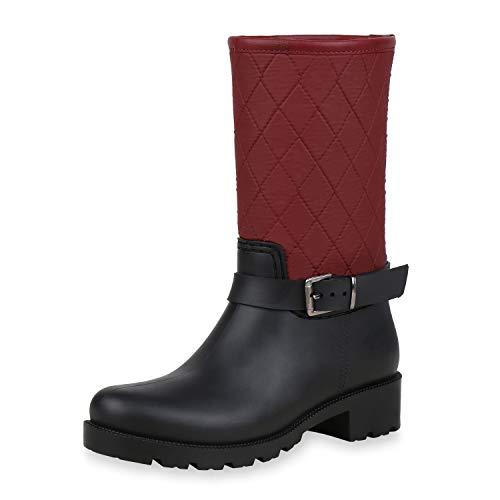 SCARPE VITA Damen Stiefel Gummistiefel Gesteppte Regenschuhe Profilsohle 170787 Dunkelrot Gesteppt 38 - Gesteppte Stiefel