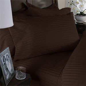 Royal Hotel Gestreifte 600-Thread-Count 4pc Bett-Blatt-Set 100-Prozent Baumwolle, Satin Gestreift, tiefere Tasche Schokolade Olympic Königin - Kissenbezug Schokolade Satin