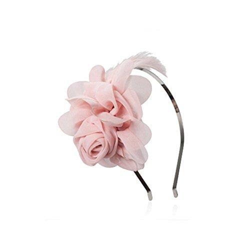 en Blumen Und Federn Geschmückten Haar Haarspangen Haar Schleife (Rosa) (Rosa Damen Haar)