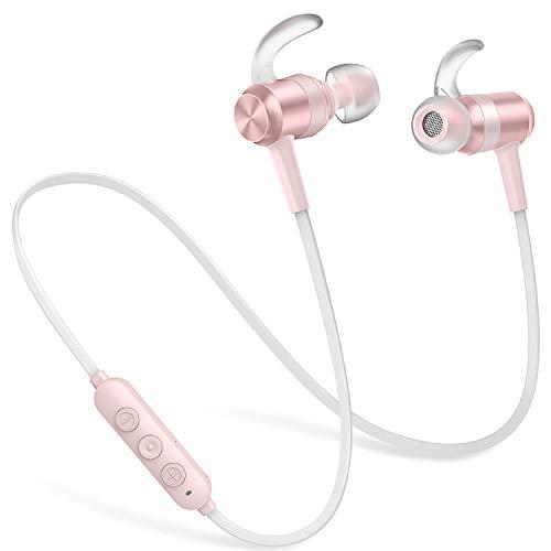 Picun Kopfhörer Bluetooth kabellos, In Ear Sport Bloothooth Kopfhörer, IPX6 Wasserdicht, 10 Stunden Spielzeit, HD-Mikrofon Magnetische Ohrhörer Wireless für iPhone, Android, Samsung (Rose Gold) - Cute Cd-player