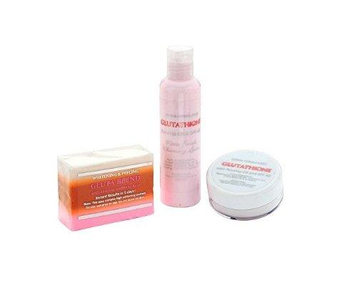 Skin Whitening Lightening 3pc Premium-Face & Body Whitening Set w / Glutathion, Hagebutte und Kojisäure Body Lotion Soap & Cream (Körper Bleaching-kit)