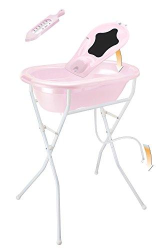 Rotho Babydesign Komplett-Badeset mit Wanne und Klapp-Ständer, 0-12 Monate, Tender rosé pearl (Rosa), TOP ideale Badelösung, 21036020801
