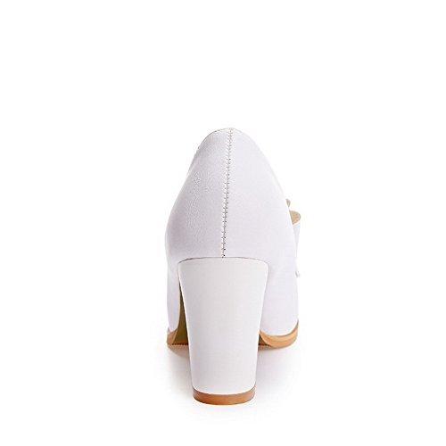 VogueZone009 Femme Matière Souple Rond à Talon Haut Tire Couleur Unie Chaussures Légeres Blanc