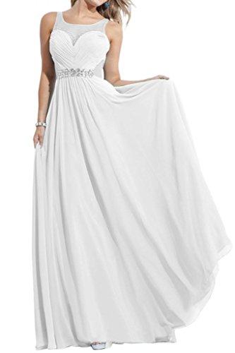 Gorgeous Bride Modern Herz-Ausschnitt Empire Chiffon Tuell Lang Abendkleid Festkleid Ballkleid Weiß