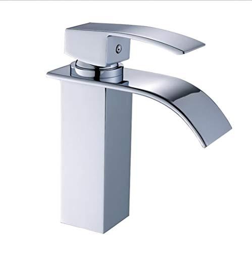 Rechteckige Düse (ZIHENGUO Wasserhahn, Wasserhahn für Waschbecken, Wasserhahn für warmes und kaltes Wasser, rechteckige Düse, eingebauter Filter,Chrome)
