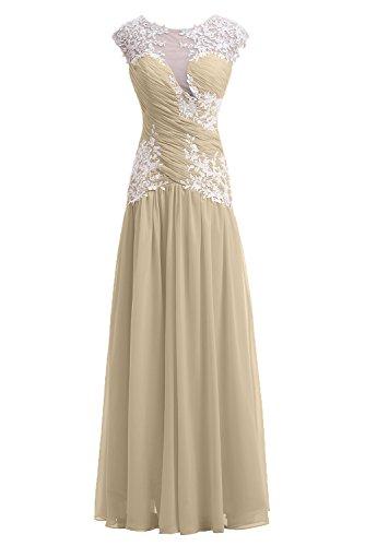 Gorgeous Bride Fashion Rundkragen Lang Etui Chiffon Tuell Abendkleid Festkleid Ballkleid Champagner