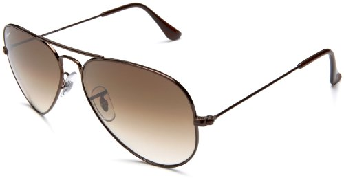 Ray-Ban Unisex Sonnenbrille Aviator, Gr. Large (Herstellergröße: 58), Braun (Gestell: braun, Gläserfarbe: hellbraun verlauf 014/51)