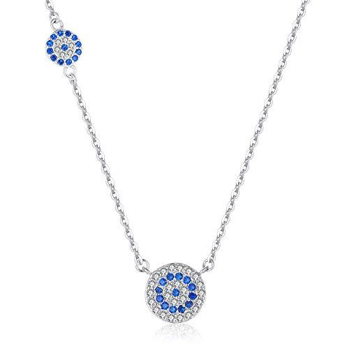 Halskette mit Anhänger Evil Eye Sterling-Silber 925 Zirkonia verstellbar 40,6-43,2-45,7 cm