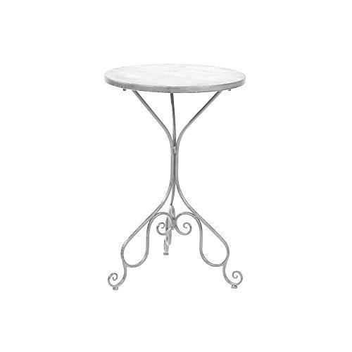 milanari Kleiner Eisentisch Avignon weiß, klein Ø 50 cm, Höhe: 75 cm Beistelltisch Gartentisch Lampentisch Vintage Shabby Chic Farbe Weiß