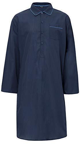 Insignia Uomo Facile Cura Tinta Unita Leggero Poli Cotone Camicia da Notte Notte Camicia - Navy, Large