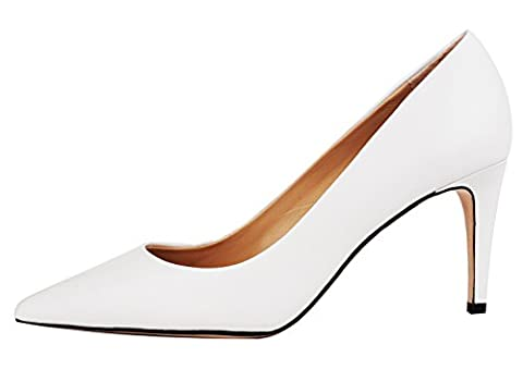 Verocara Women's Genuine Leather High heel Shoes Elegant Beauty Sexy Pointed Toe Pumps White Leather 5.5 UK