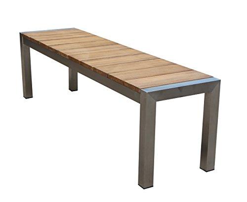 greemotion 129159 Gartenbank SAN Diego aus Teak Holz-2 Sitzer Holzbank ohne Lehne-Garten Sitzbank Wetterfest-Teakholz Bank massiv mit Edelstahl für draußen, Braun, 15,2 x 5 x 1,4 cm