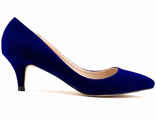 wealsex Escarpins Suédé Talon Moyen Aiguille Bout Pointu Chaussure de Soirée Mariage Couleur Uni Simple Classique Talon 6 CM Femme bleu foncé