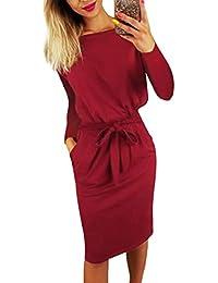 cdcff89250d1 ORANDESIGNE Autunno Inverno Donne Vestito Eleganti Manica Lunga Tinta Unita  Tasca Abiti Moda Casual Vestiti da
