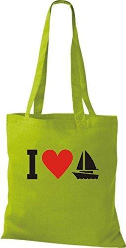 JUTA Borsa di stoffa I LOVE barca a vela, capitano, SKIPPER Kiwi
