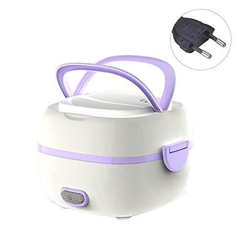 HshDUti Mini Heizung Lunchbox tragbare elektrische Küche Lebensmittel Reiskocher Steamer Wärmer Purple EU Plug