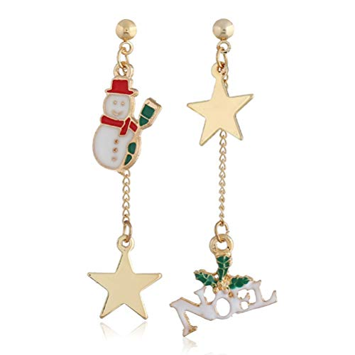 TONVER Boucles doreilles de Noël, 1Paire Plaqué Or Père Noël Sapin de Noël Motif asymétrique Boucles doreilles Mode Bijoux pour Femmes Filles