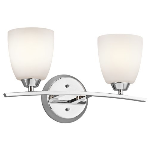 Cased Opal Shade (Kichler Lighting 45359CH Granby 2-Light Vanity Fixture, Chrome Finish and Satin Etched Cased Opal Glass Shades by Kichler)