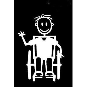 My Stick Figure Family Autoaufkleber Aufkleber Sticker Decal Junge Rollstuhlfahrer B14