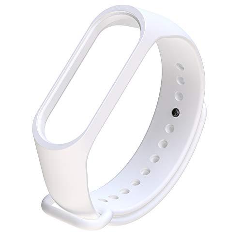 mAjglgE Uhrenband,Silikon Ersatz verstellbare Armband Handschlaufe für Xiaomi Mi Band 3/4 White - White-band-uhr