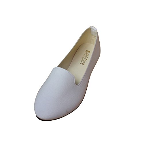 MISSMAO Frauen Damen Slip on Flache Schuhe Sandalen Casual Ballerina Schuhe Schwangere Frau Schuhe,Weiß,EU 35