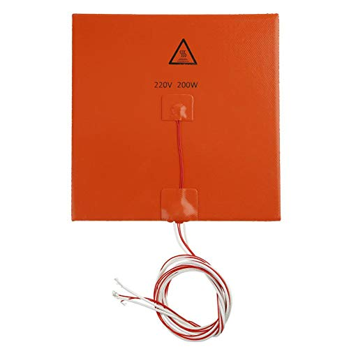 Asiright - Calentador de silicona de 220 V y 300 W para impresora 3D (200 x 200 mm)