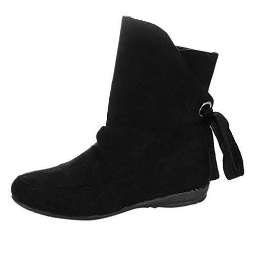 BIKETAFUWY Stiefeletten Damen Schnürstiefeletten Motorrad Boot 2019 Herbst Winter Schuhe Anti-Rutsch Kurze Stiefe Warme Gefüttert Schnürschnalle Römische Stiefeletten