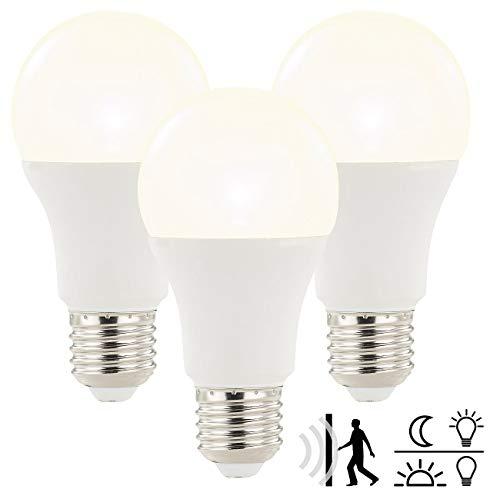 3 Radar (Luminea LED Lampe automaitch: LED-Lampe mit Radar-Bewegungs- und Lichtsensor, 12 Watt, E27, 3er-Set (Lampe mit Bewegungssensor))