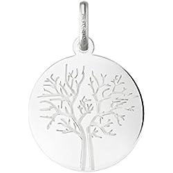 HIVER - Médaille Arbre de Vie - Or blanc 18 carat - Diametre: 18 mm - www.diamants-perles.com
